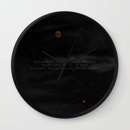 Blood Moon - Total Lunar Eclipse, Grand opposition of Mars, Southern Delta Aquarid meteor shower Wall Clock