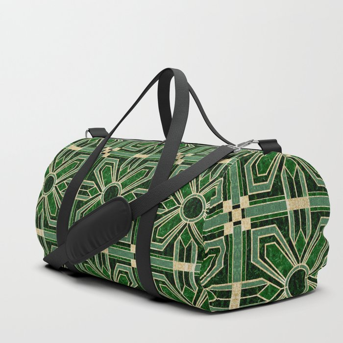 Art Deco Floral Tiles in Emerald Green and Faux Gold Duffle Bag