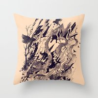 chaos Throw Pillows featuring Chaos by nicebleed