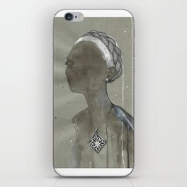 girl with silver diamond oltu stone necklace iPhone Skin