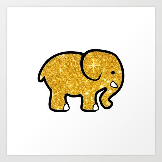 Gold Glitter Elephant Art Print