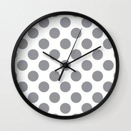Grey Large Polka Dots Pattern Wall Clock