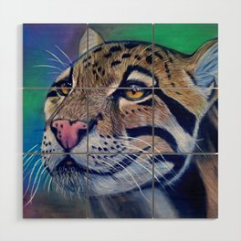 Clouded Leopard Realistic Pastel Pencil Drawing Wood Wall Art