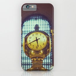 Art Deco | Golden clock in New York Central Terminal - Fine ArtTravel Photography iPhone Case