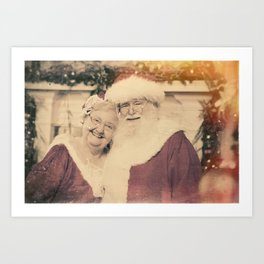 Santa and Ms Claus poising for their family photo Art Print