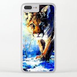 portrait of a creepin' cougar, in orange and blue Clear iPhone Case