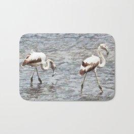 Be A Flamingo Watercolor Bath Mat