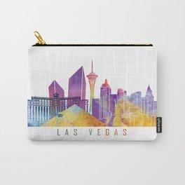 Las vegas skyline landmarks in watercolor Carry-All Pouch