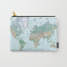 The World [Atlas] Shaded Relief Map Carry-All Pouch