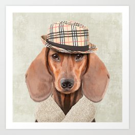 The stylish Mr Dachshund Art Print