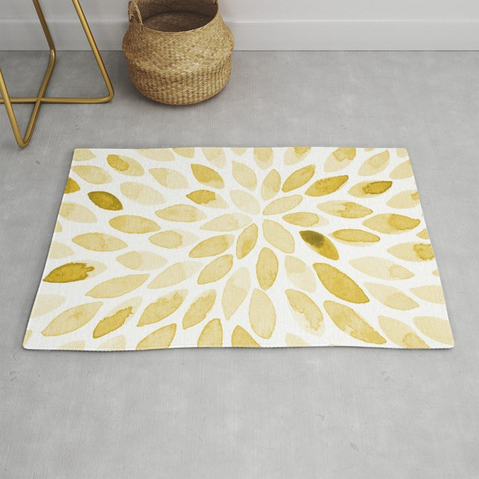 Watercolor Brush Strokes Yellow Rug By Wackapacka