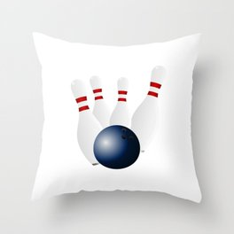 Bowling Ball and Pins Throw Pillow