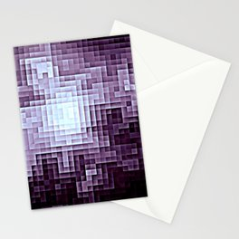 Nebula Pixels Dark Plum Purple Stationery Cards