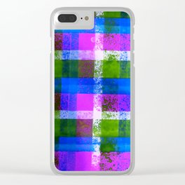 Purple Plaid Hand Painted Print By James Thomas Ryan Clear iPhone Case