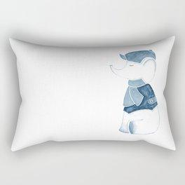 Elephant and Beret Blue Gray Rectangular Pillow