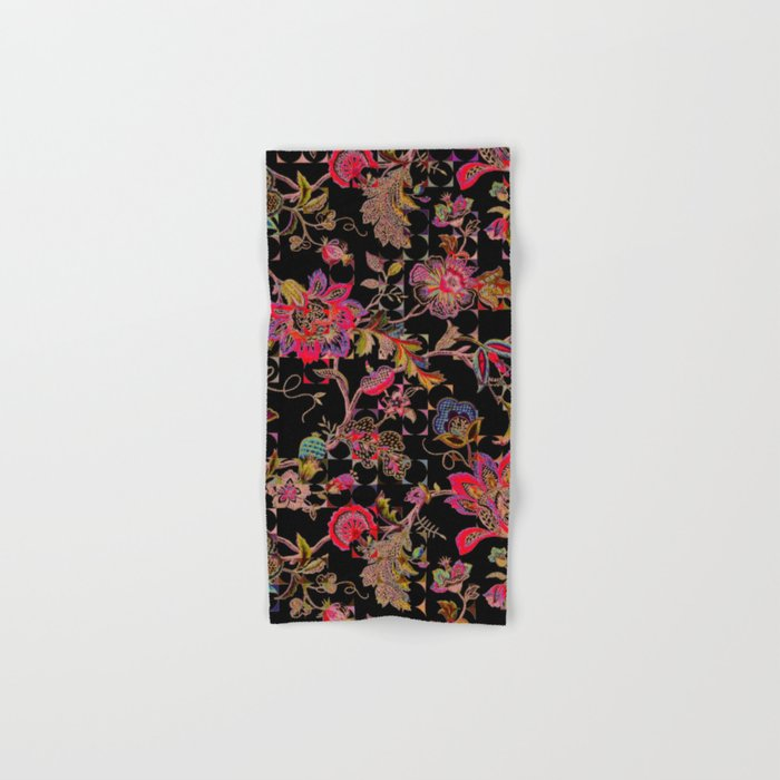 ancient floral on black background Hand & Bath Towel