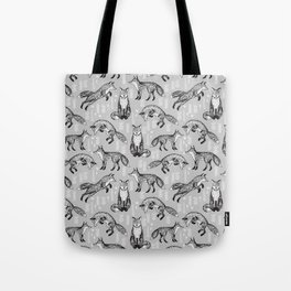 Fox pattern drawing foxes cute andrea lauren grey forest animals woodland nursery Tote Bag