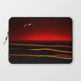 Night Lights Moon and Three Autos Laptop Sleeve