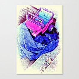 Jeep & Tarp & Chalks Canvas Print