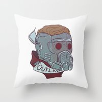 starlord Throw Pillows featuring Outlaw by Charleighkat