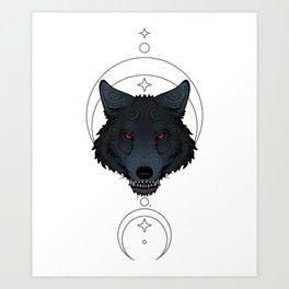 Wolf Tattoo Head Gift Embellishment Ornament Art Print