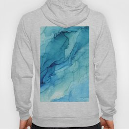 Emerald Sea Waves - Abstract Ombre Flowing Ink Hoody