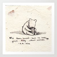 winnie the pooh Art Prints featuring Winnie the Pooh by Devin Marie