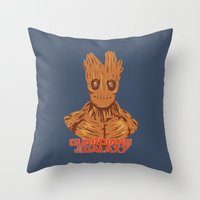 groot Throw Pillows featuring Groot  by bookotter
