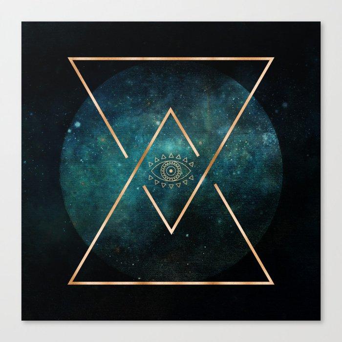 Eye Moon Gold Geometric Tribal Bohemian Mandala Canvas Print