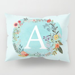 Personalized Monogram Initial Letter A Blue Watercolor Flower Wreath Artwork Pillow Sham
