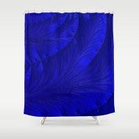 renaissance Shower Curtains featuring Renaissance Blue by Charma Rose