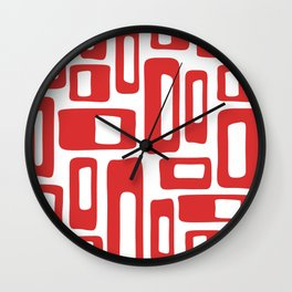 Retro Mid Century Modern Abstract Pattern 336 Red Wall Clock