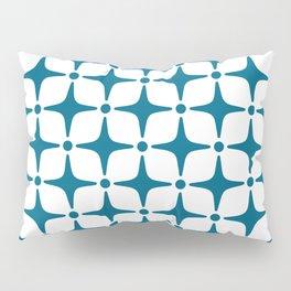 Mid Century Modern Star Pattern Peacock Blue Pillow Sham