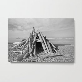 Driftwood Fort Cloudy Forest Beach Coast Coastal  Northwest Pacific Ocean Washington Rocky Waves Tre Metal Print