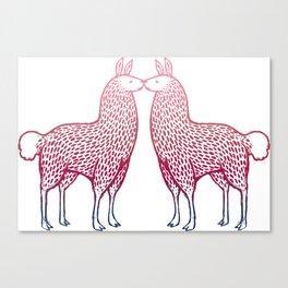 Llamas Kissing Canvas Print