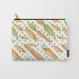 Carrots on Dotted Green Backgrond Watercolor Carry-All Pouch