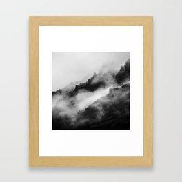 Foggy Mountains Black and White Framed Art Print