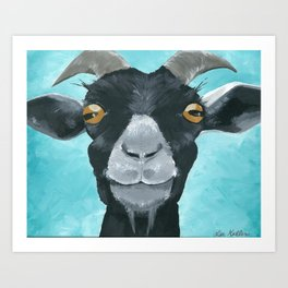 goat art.  'Willie from acrylic on canvas goat painting Art Print