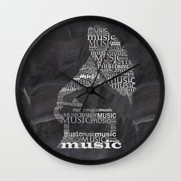 Gramophone on chalkboard Wall Clock
