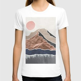 Mount Hood // Daylight Art Print Oregon Stratovolcano Rose Gold Silver Blue Cream Black Mountain T-shirt