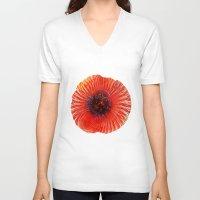 poppy V-neck T-shirts featuring Poppy by Klara Acel