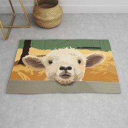 Sweet Lamb in the Barnyard Rug