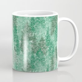 Green Summer Conifer Forest Watercolor Pattern Coffee Mug