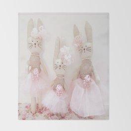 Bunnies Pretty in Pink Throw Blanket