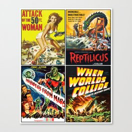 50s Sci-Fi Poster Collage #2 Canvas Print