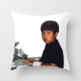 Hardcore coder with wrist band Throw Pillow