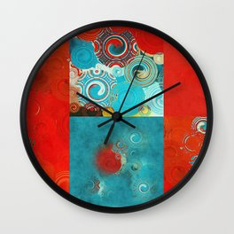 Swirly Red and Turquoise Mosaic Wall Clock