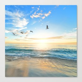 Blue Sky with Birds Canvas Print