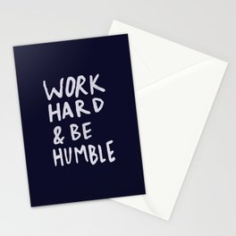 Work Hard and Be Humble x Navy Stationery Cards