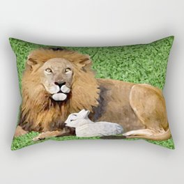 Lion and Lamb Rectangular Pillow
